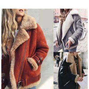 Suede Wool Coat Faux Fur (Pre-Order)